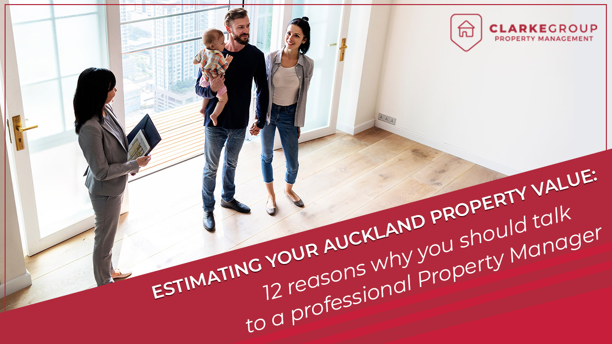 Property manager helping a family to estimate the value of their property